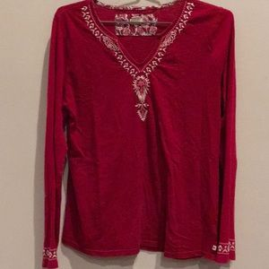 Lucky Brand Red Boho Festival Cotton Knit Top